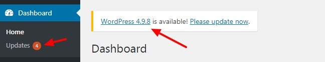 WordPress Dashboard indicates a new version is available to install