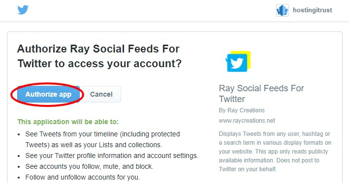 Authorize Ray Social Feeds For Twitter to access your account screenshot